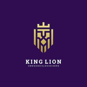 Logo illustration abstract lion head con il re della corona semplice e minimalista
