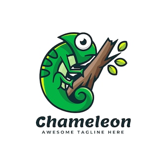 Logo illustration chameleon simple mascot style.