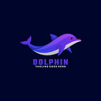 Logo illustration dolphin gradient colorful style.