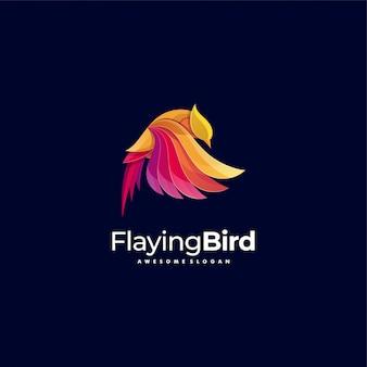 Logo illustration flaying bird gradient colorful style.