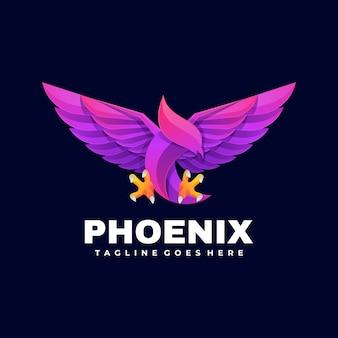 Logo illustration phoenix gradient colorful style.
