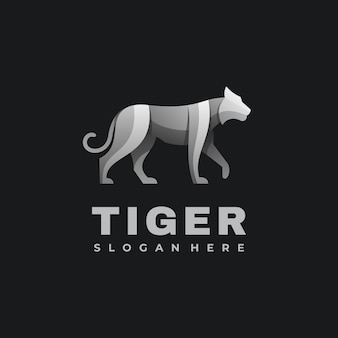 Logo illustration tiger gradient colorful style.