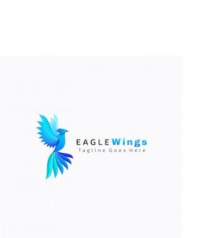 Logo illustrazione aquila gradiente stile colorato.