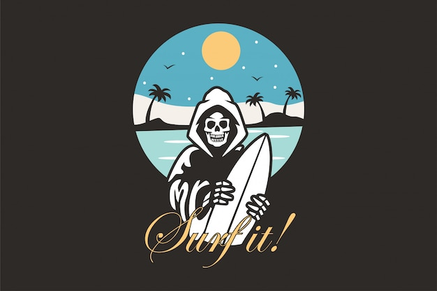 Logo illustrazione con skeleton surfer