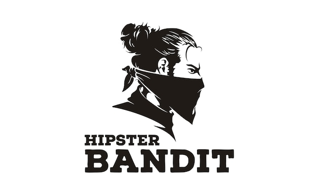 Logo / illustrazione di bandit hipster
