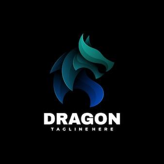 Logo illustrazione drago gradiente colorato stile.