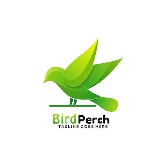 Logo illustrazione uccello persico gradiente colorato stile.