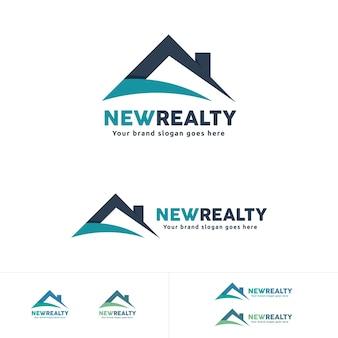 Logo immobiliare, simbolo del tetto della casa, marca residenziale