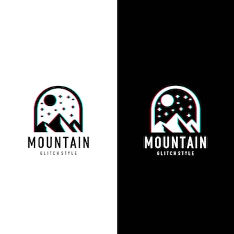 Logo in stile glitcher di montagna