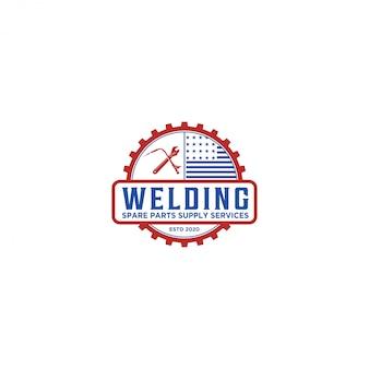 Logo industriale di saldatura, servizio ricambi per officina