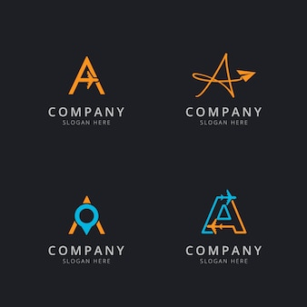 Logo iniziale a con elementi da viaggio in colore arancione e blu