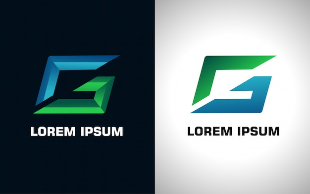 Logo iniziale blu e verde lettera g in due versioni