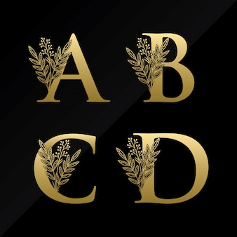 Logo iniziale della lettera abcd con fiore semplice in colore oro