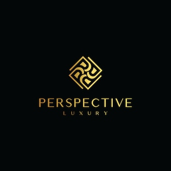 Logo iniziale lettera p con rombo linea oro