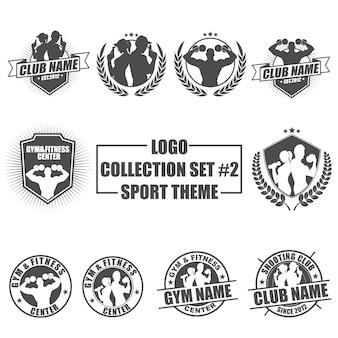 Logo insieme con tema di sport e palestra