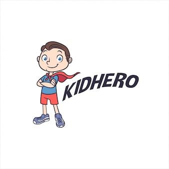 Logo little kid superhero mascot