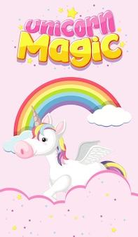 Logo magico di unicorno con unicorno sul cielo