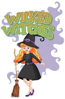 Logo malvagio delle streghe su fondo bianco