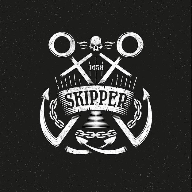 Logo marino grunge con due ancore incrociate, nastro e catena.