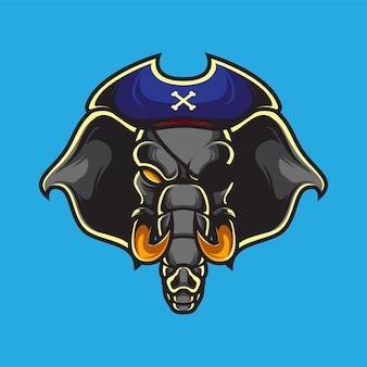 Logo mascot elefante pirati