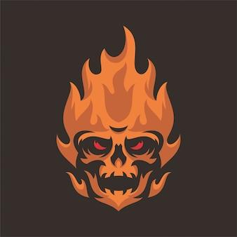 Logo mascot testa di teschio fuoco