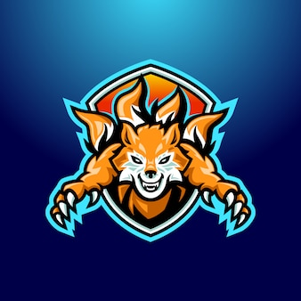 Logo mascotte arancione volpe