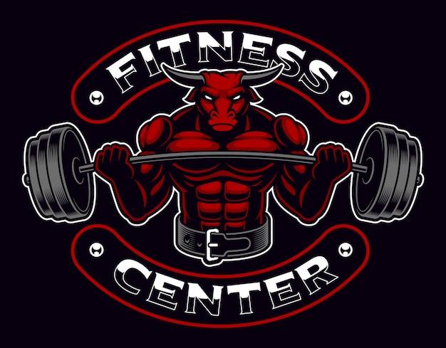 Logo mascotte bodybuilder vintage su oscurità
