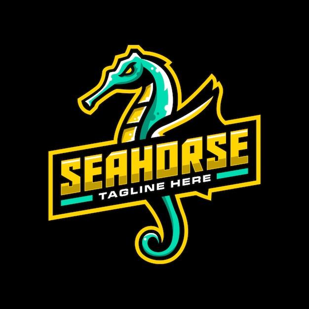 Logo mascotte cavalluccio marino