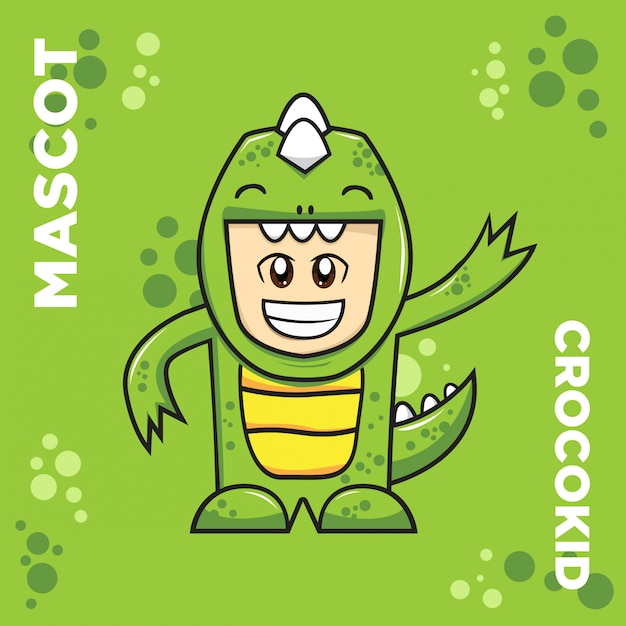 Logo mascotte crocodile kid