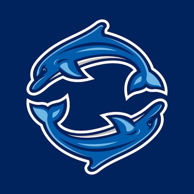 Logo mascotte delfino gemello