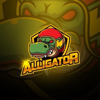 Logo mascotte di alligatore esport