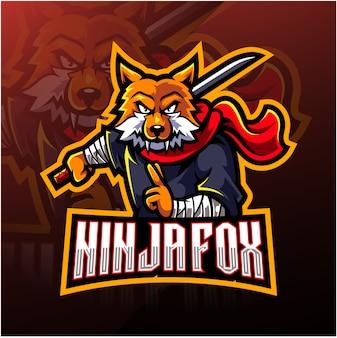 Logo mascotte di ninja fox esport