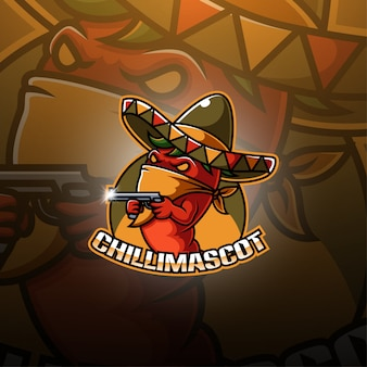 Logo mascotte di peperoncino esport