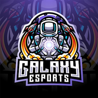 Logo mascotte esport astronauta galaxy