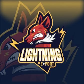 Logo mascotte esport lightning rat