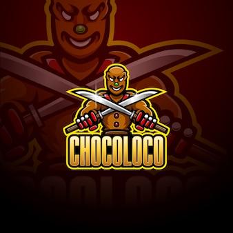 Logo mascotte esportatore di cioccolato ninja