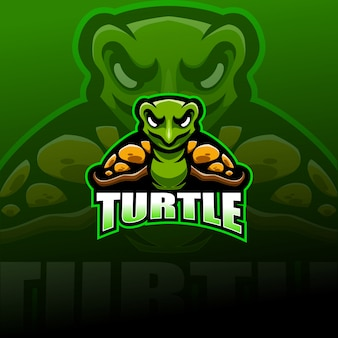 Logo mascotte esportatore di tartaruga