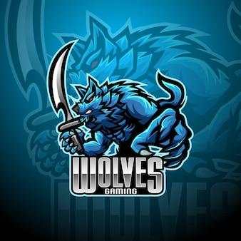 Logo mascotte lupo selvatico esport
