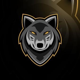 Logo mascotte lupo testa design e-sport