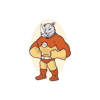 Logo mascotte rhino logo forte e veloce