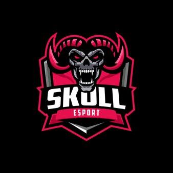 Logo mascotte teschio corno rosso