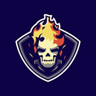 Logo mascotte teschio di fuoco