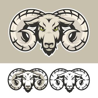 Logo mascotte testa di capra arrabbiato