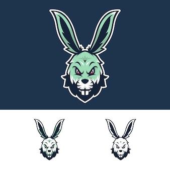 Logo mascotte testa di coniglio arrabbiato