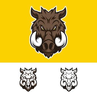 Logo mascotte testa di maiale arrabbiato