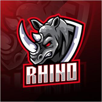 Logo mascotte testa di rinoceronte
