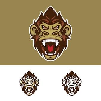 Logo mascotte testa di scimmia arrabbiato