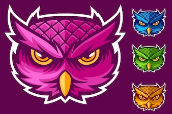 Logo mascotte testa gufo set tre colori