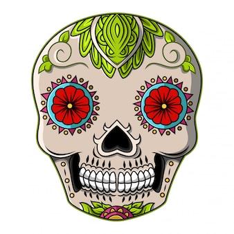 Logo mascotte testa teschio di zucchero