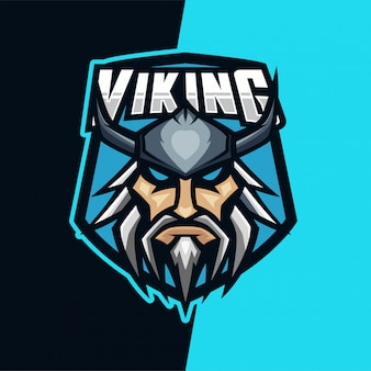 Logo mascotte viking warrior e-sport